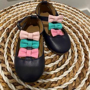 Gymboree baby girl navy blue bow dress flats sz 4